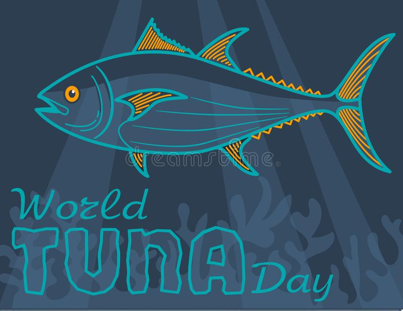 Banervärld Tuna Day royaltyfri illustrationer