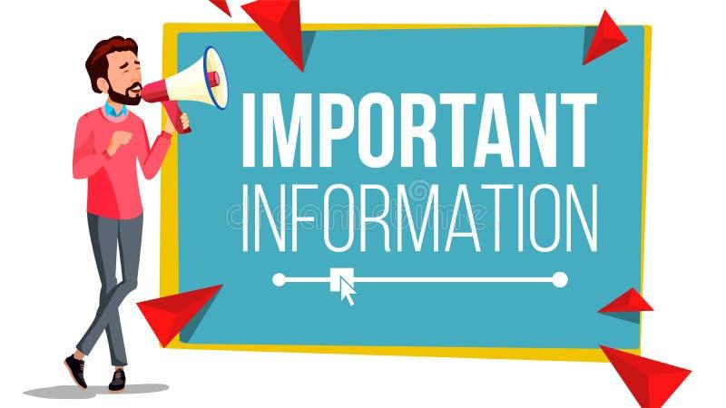 Banervektor för viktig information Affärsman med megafonen högtalare vektor för anförande för bubbladiagramperson talande Uppmärk royaltyfri illustrationer