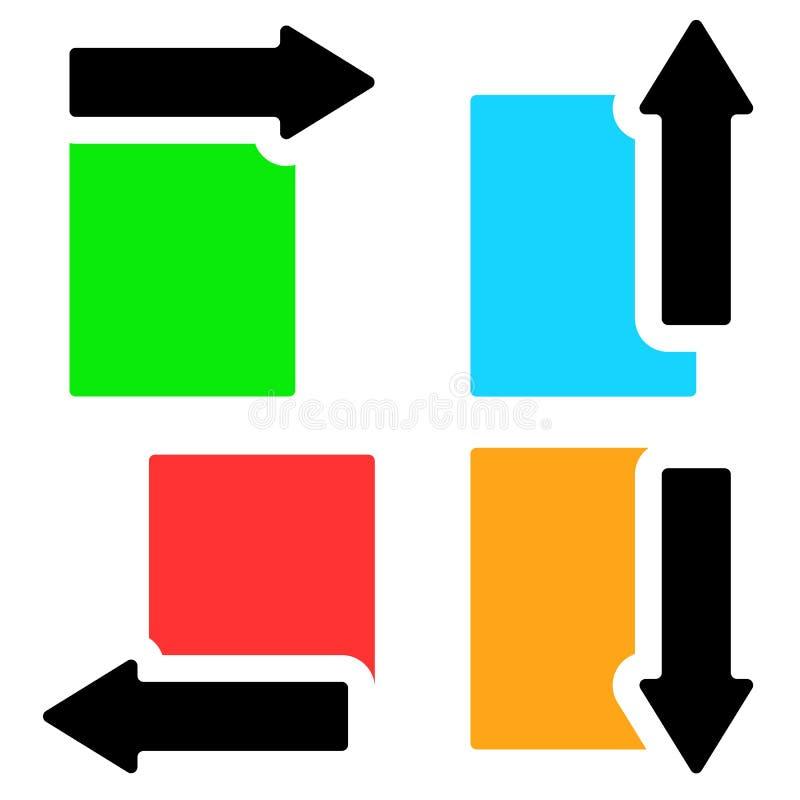 Banerw-pilar i riktning fyra - pilar klippte i rektangelsha vektor illustrationer
