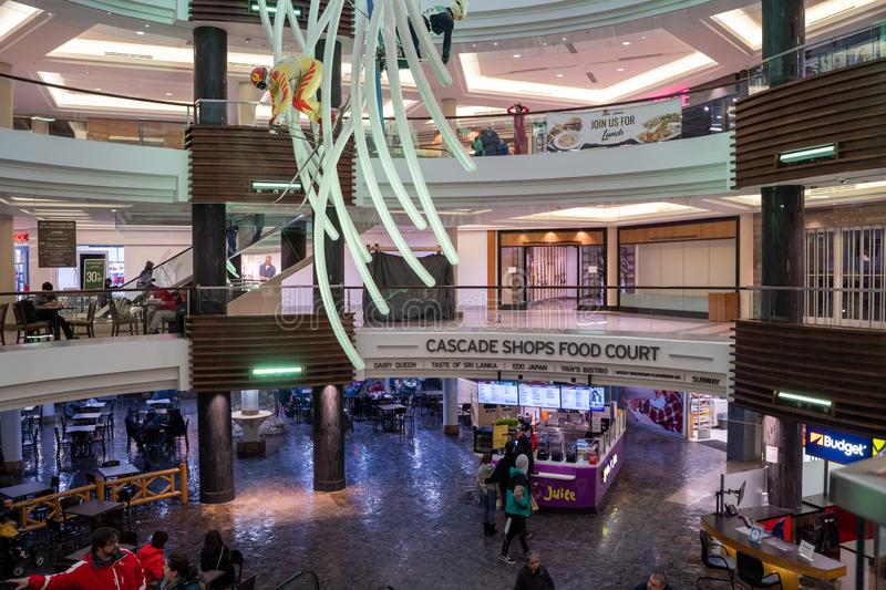 Interior view of the Cascade Shops shopping mall on Banff Avenue, features a food court stock images
