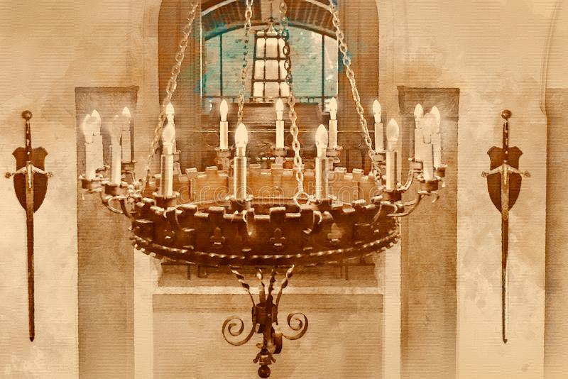 Painterly converted image of a chandelier at the Fairmont Hotel stock photography