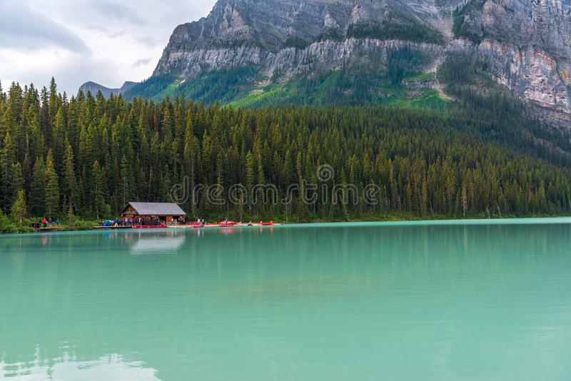 Boaters on Lake Louise in Banff royalty free stock photo