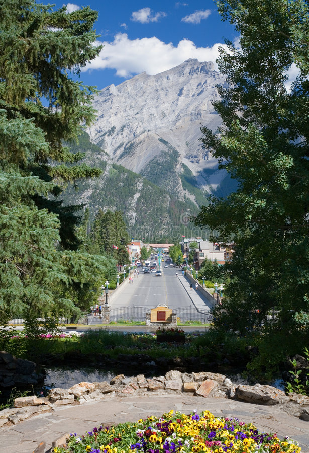 Banff in the Canadian Rockies stock images