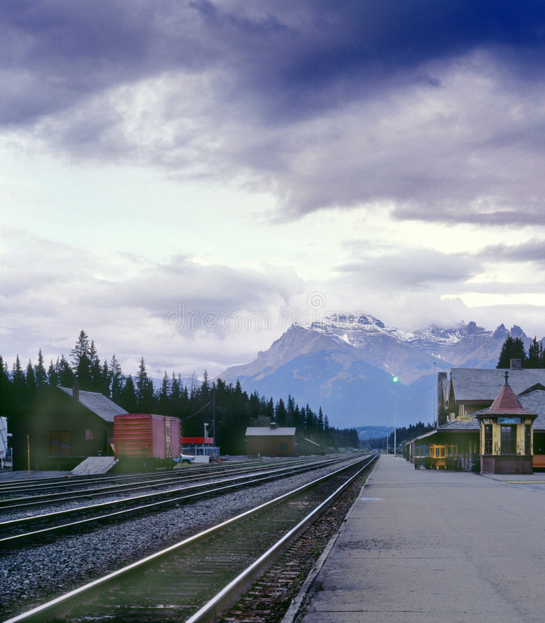 Download Banff CPR Train Station, Alberta, Canada Stock Image - Image: 3118765