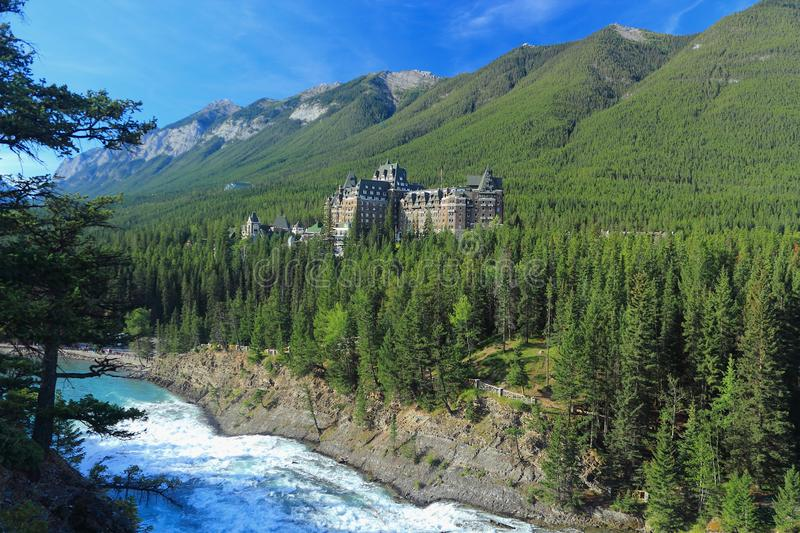 Banff National Park, Alberta, Canada, Banff Springs Hotel above Bow River Falls in the Canadian Rocky Mountains royalty free stock photo