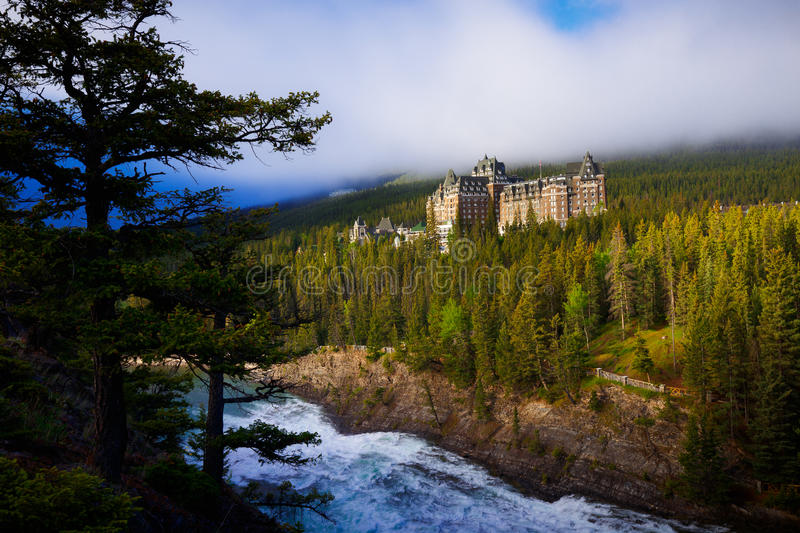 Banff Springs Hotel in Banff, Alberta, Canada. View of Fairmont Banff Springs Hotel from surprise corner in Banff, Alberta, Canada stock images