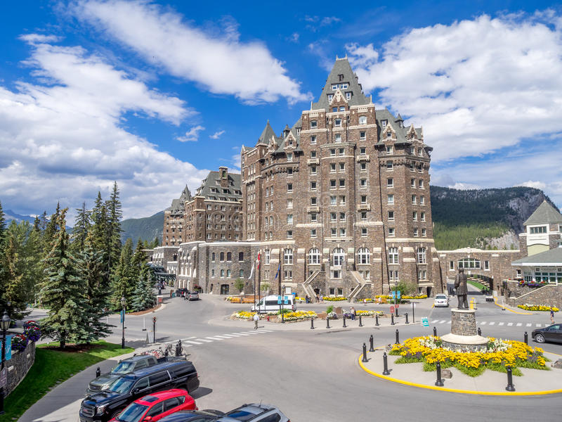 The Banff Springs Hotel. BANFF, CANADA - AUG 9, 2015: The Banff Springs Hotel on August 9, 2015 in the Canadian Rockies. The Banff Springs Hotel was built during royalty free stock image