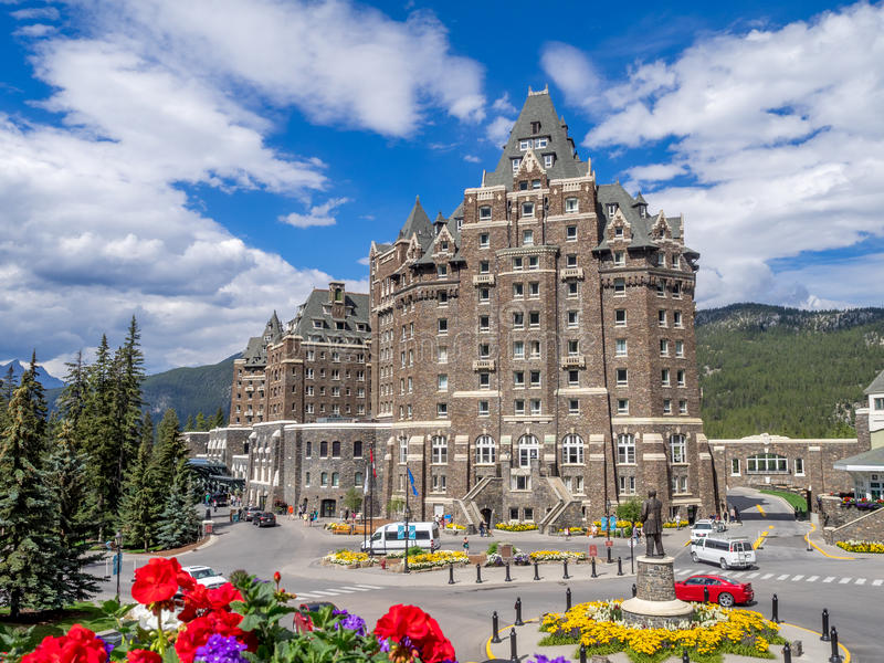 The Banff Springs Hotel. BANFF, CANADA - AUG 9, 2015: The Banff Springs Hotel on August 9, 2015 in the Canadian Rockies. The Banff Springs Hotel was built during stock images