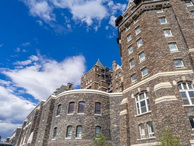 The Banff Springs Hotel. BANFF, CANADA - AUG 9, 2015: The Banff Springs Hotel on August 9, 2015 in the Canadian Rockies. The Banff Springs Hotel was built during royalty free stock photography