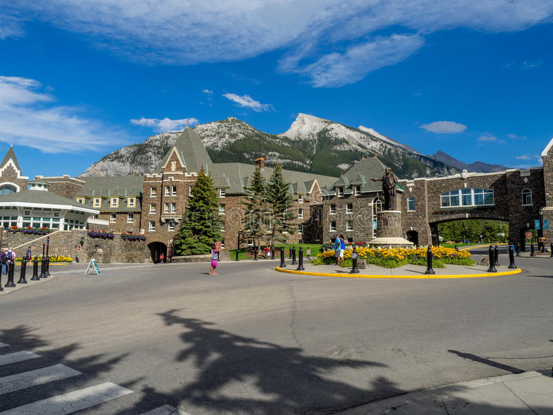 The Banff Springs Hotel. BANFF, CANADA - AUG 9, 2015: The Banff Springs Hotel on August 9, 2015 in the Canadian Rockies. The Banff Springs Hotel was built during royalty free stock photos