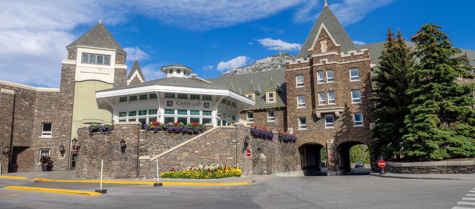 The Banff Springs Hotel. BANFF, CANADA - AUG 9, 2015: The Banff Springs Hotel on August 9, 2015 in the Canadian Rockies. The Banff Springs Hotel was built during royalty free stock images