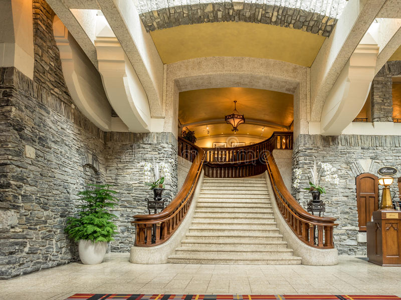 Of the Banff Springs Hotel. BANFF, CANADA - AUG 9, 2015: Interior of the Banff Springs Hotel on August 9, 2015 in the Canadian Rockies. The Banff Springs Hotel stock images