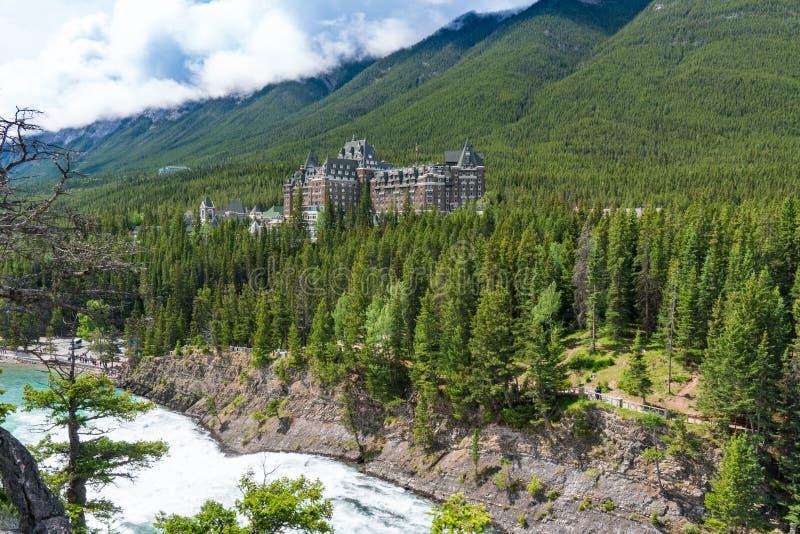 Banff Springs Hotel histórico, Alberta foto de archivo libre de regalías