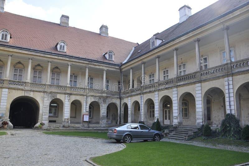 Banffy Palace courtyard in Cluj-Napoca from Transylvania region in Romania stock photo