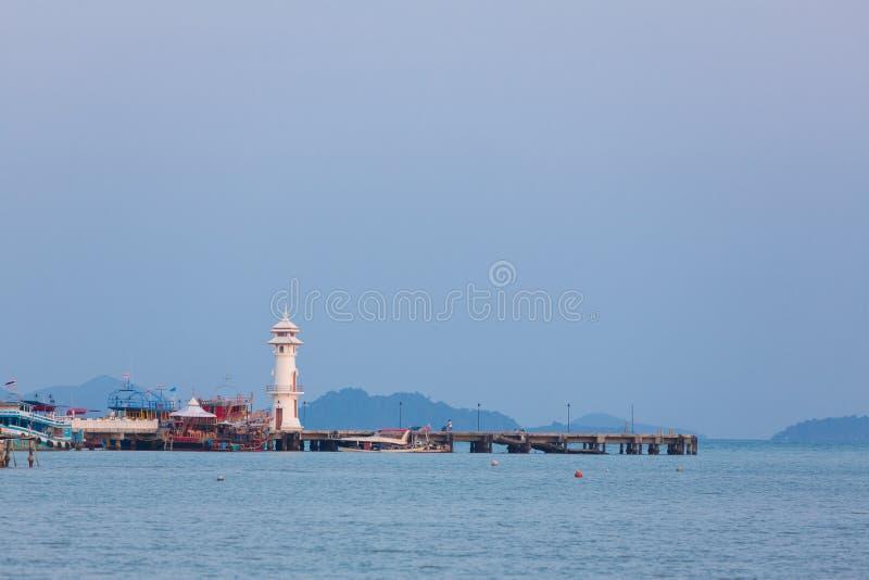 Bang Bao harbor and the lighthouse. Koh Chang island. Thailand stock photos