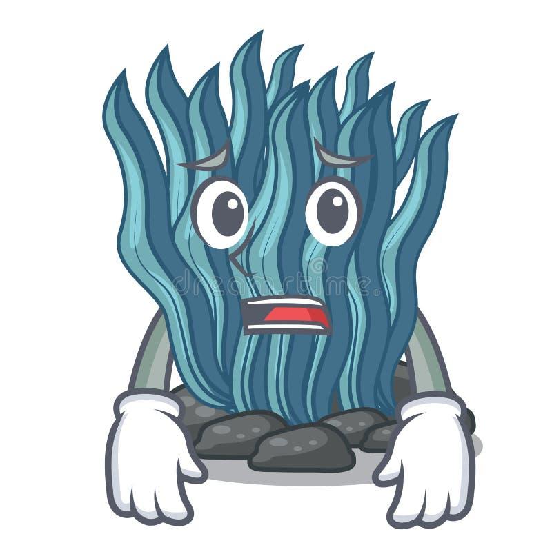 Bang blauw zeewierbeeldverhaal onder zeewater stock illustratie