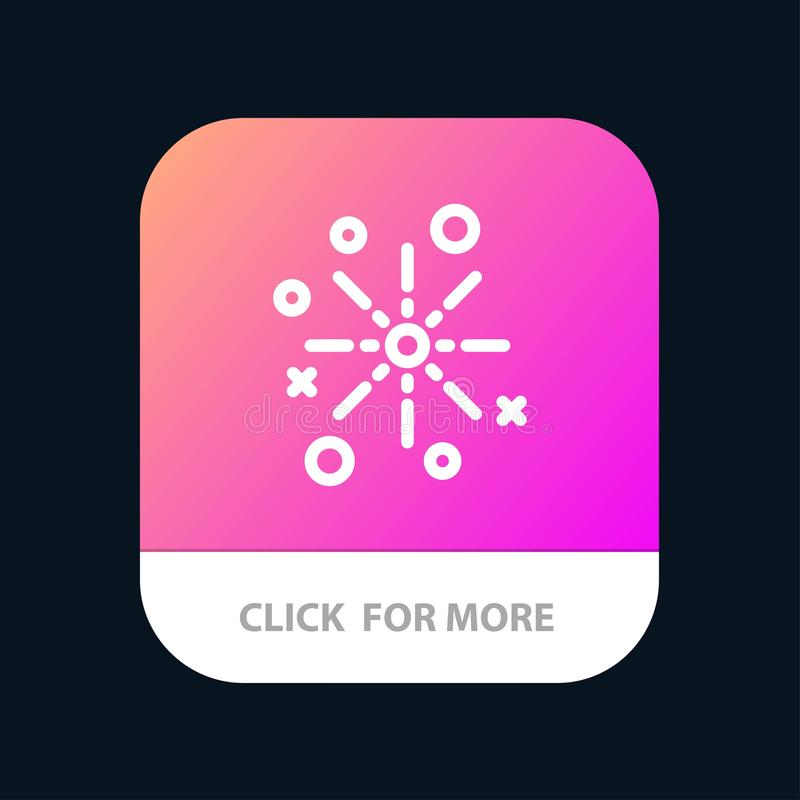 Bang, Boom, Celebrate, Crackers, Diwali, Festival, Fireworks Mobile App Button. Android and IOS Line Version stock illustration