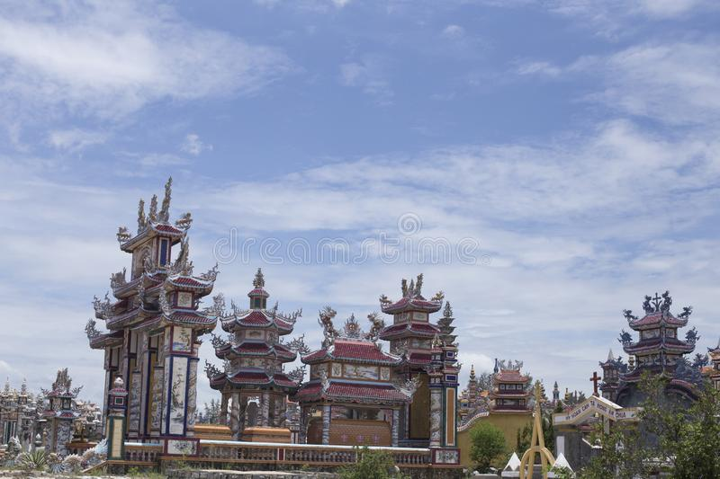 An Bang Cemetery, City of Ghosts, tombs and details, Vietnam royalty free stock image