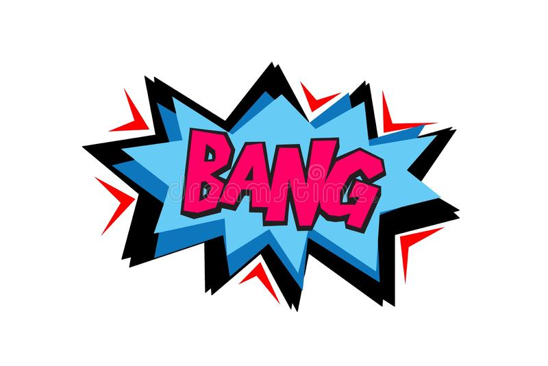Bang comic text symbol sign cartoon pop art retro. Illustration design stock image
