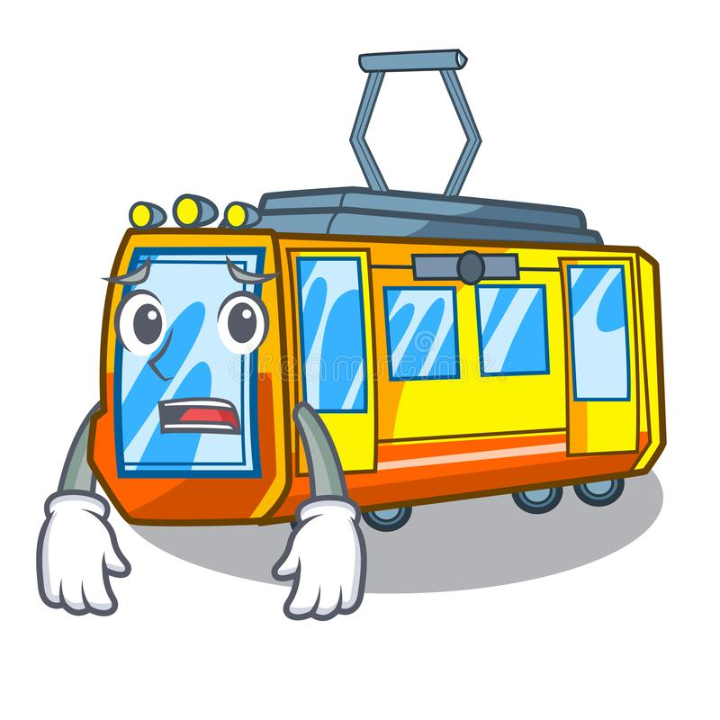 Bang elektrisch treinspeelgoed in vormmascotte vector illustratie