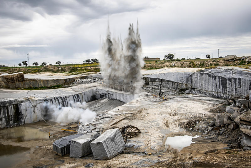 Bang for the extracion granite quarry opencast.  royalty free stock image
