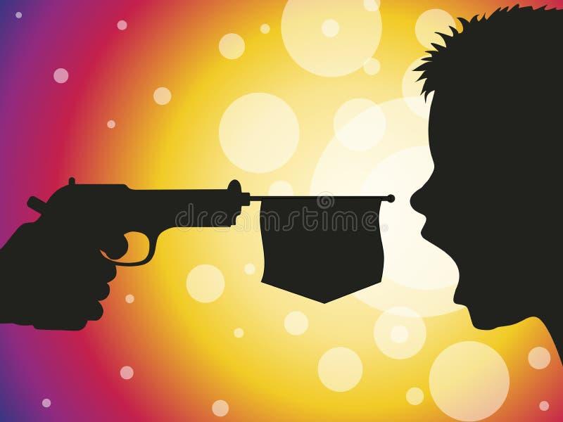 Bang. Fun shot of a toy gun. Vector format