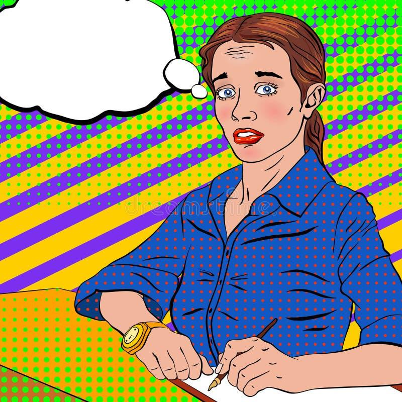 Bang gemaakt meisje in een blauwe blouse in een pop-artstijl stock illustratie