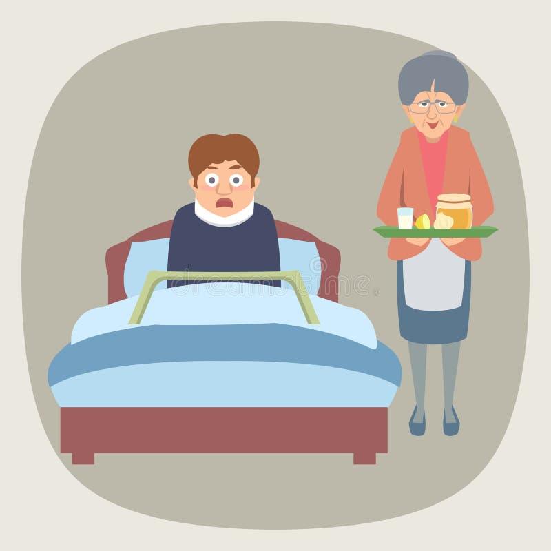 Bang gemaakt zieke in bed en oma die naar huis remedie brengen vector illustratie