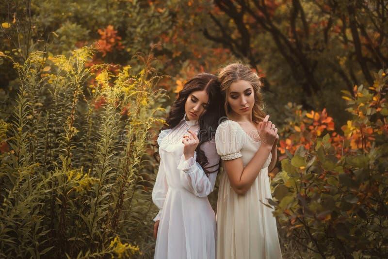 Bang gemaakte meisjes in uitstekende kleding royalty-vrije stock afbeelding