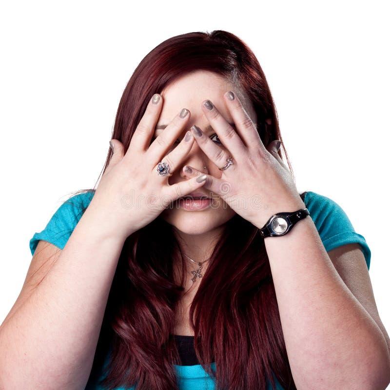 Bang gemaakte vrouw stock foto