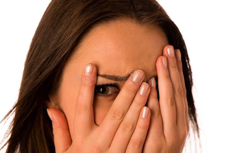 Bang gemaakte vrouw - preety meisjes gesturing vrees stock afbeelding