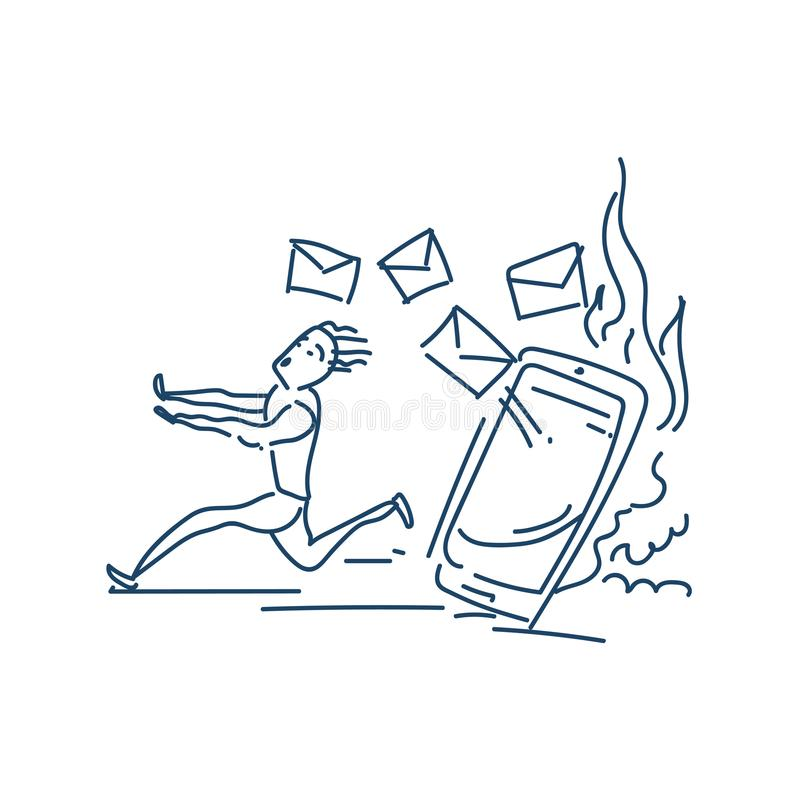 Bang gemaakte zakenman die vanaf heel wat e-mail lopen die hem achtervolgen het karakterontwerp van de schetskrabbel stock illustratie