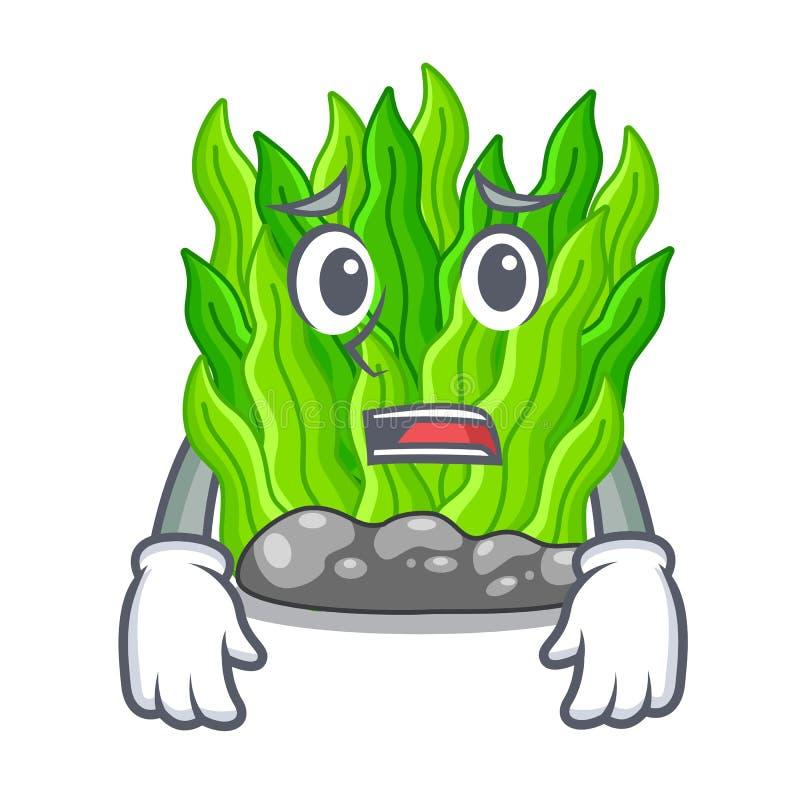 Bang miniatuur groen zeewier boven mascottelijst vector illustratie