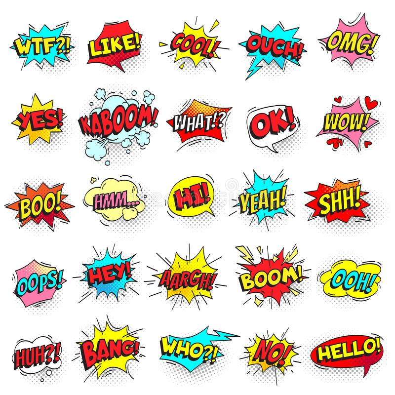 Bang, ouch shouts and yeah shouting text bubble with halftone pattern shadow. Pop art retro style shout speech bubbles stock illustration