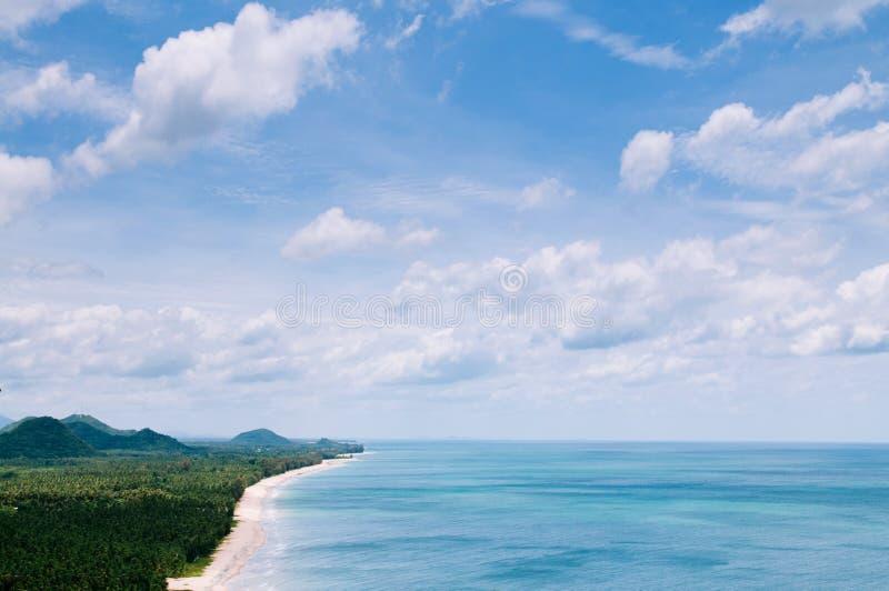 Bang Saphan beach from high angle view, Prachuap Khiri Khan, Thailand. Wide scenery of Bang Saphan beachand bay from high angle view, Prachuap Khiri Khan royalty free stock images