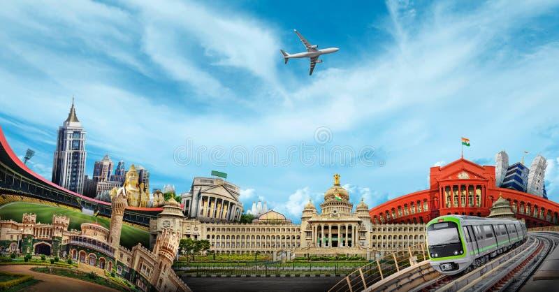 Bangalore Skyline City. Bangalore is the capital and largest city of the Indian state of Karnataka royalty free stock photos