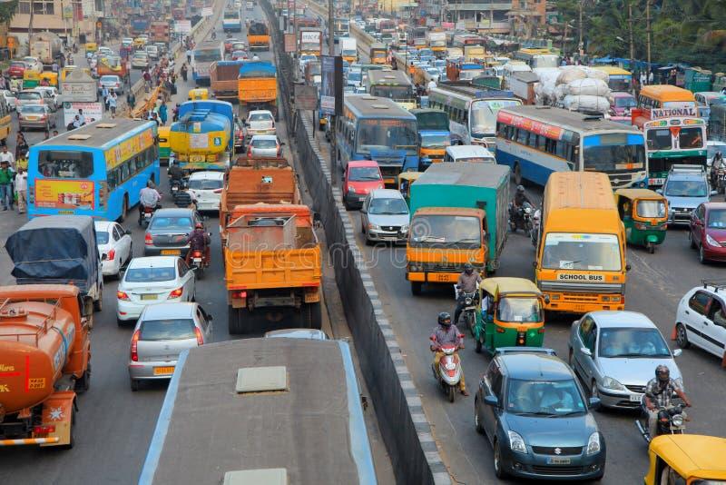 Bangalore city traffic. Heavy traffic in Bangalore city royalty free stock photography