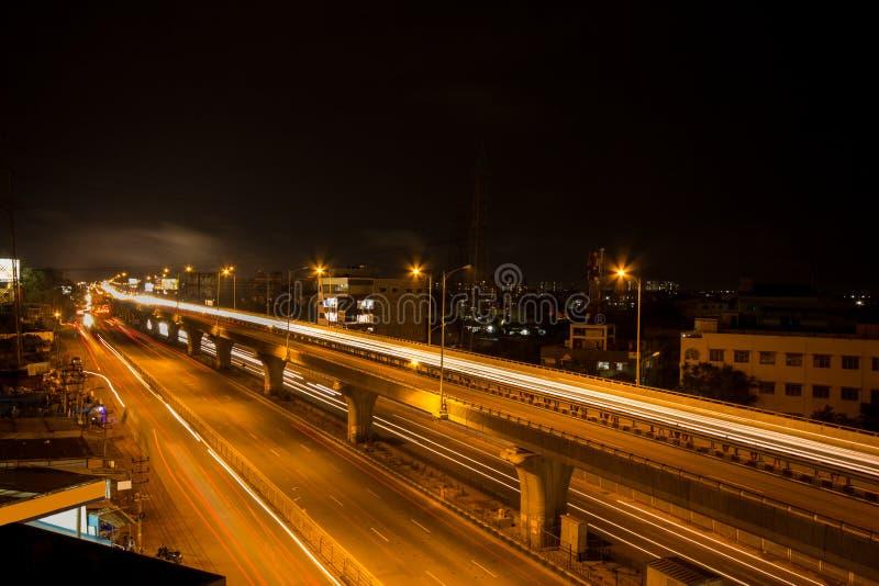 Bangalore City Traffic. Bangalore Night Traffic In Hosur Flyover Near Electronic City stock images