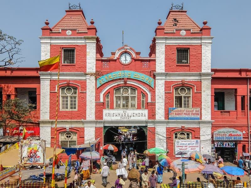 Main entrance gate of KR Market in Bangalore. Bangalore, India - Circa January, 2018. Main entrance gate of KR Market in Bangalore stock photo