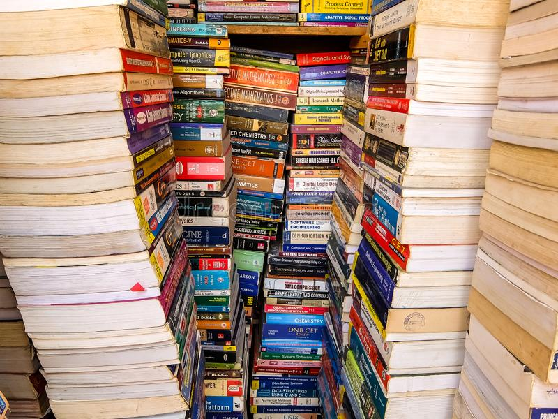 Street bookstore in Bangalore. Used books for sale. Bangalore, India - Circa January, 2018. Street bookstore in Bangalore. Used books for sale stock photo