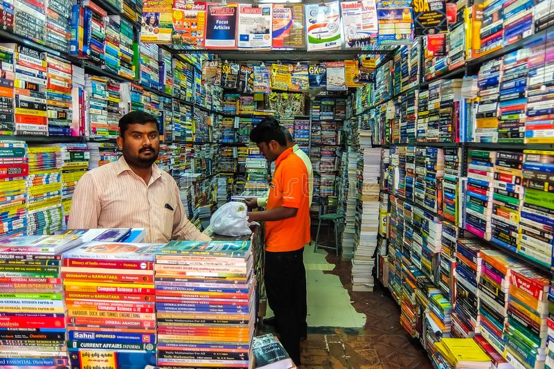Street bookstore in Bangalore. Used books for sale. Bangalore, India - Circa January, 2018. Street bookstore in Bangalore. Used books for sale royalty free stock images