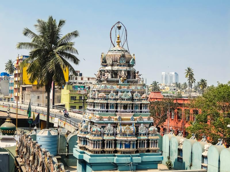 View of Sri Ganesh Temple near famous KR market in Bangalore. Bangalore, India - Circa January, 2018. View of Sri Ganesh Temple near famous KR market in royalty free stock photos