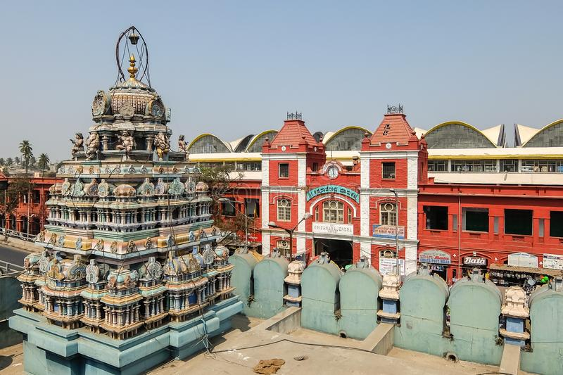 View of Sri Ganesh Temple near famous KR market in Bangalore. Bangalore, India - Circa January, 2018. View of Sri Ganesh Temple near famous KR market in royalty free stock image