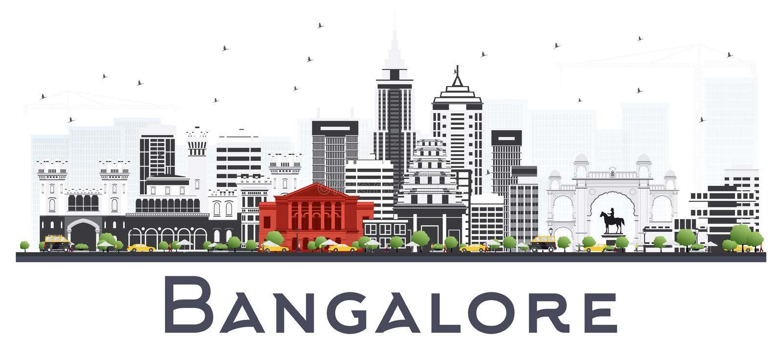 Bangalore India City Skyline with Gray Buildings Isolated on White. Vector Illustration. Business Travel and Tourism Concept with Historic Buildings. Bangalore vector illustration
