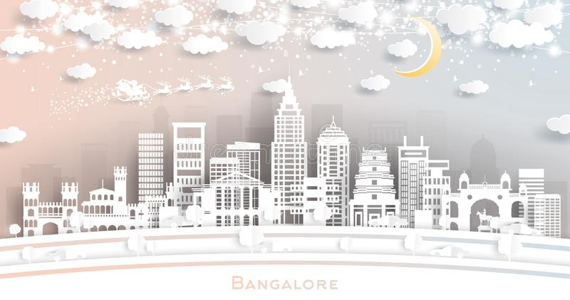 Bangalore India City Skyline in Paper Cut Style with Snowflakes, Moon and Neon Garland. Vector Illustration. Christmas and New Year Concept. Santa Claus on royalty free illustration