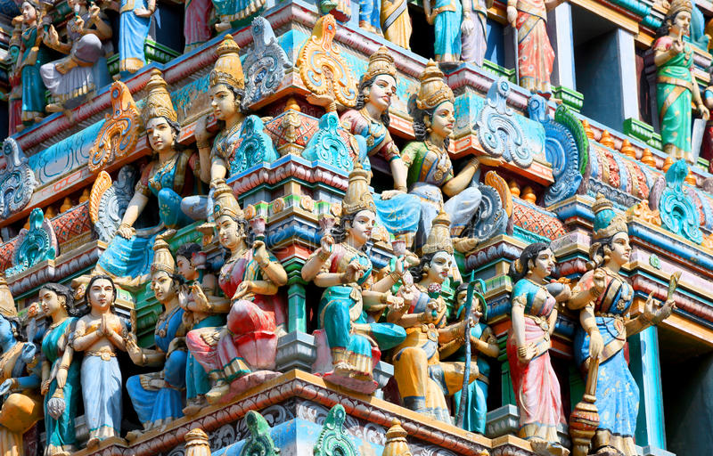 Bangalore, India. December 13, 2015:Detail of the Shiva temple gopuram in Bangalore exterior view a typical south Indian temple architecture royalty free stock images