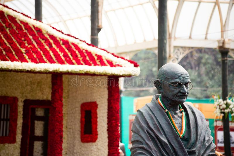 Bangalore, India - January 24, 2019 - Gandi statue at the flower show. Bangalore, India - January 24, 2019 - Gandi statue at Lalbagh flower show royalty free stock photo