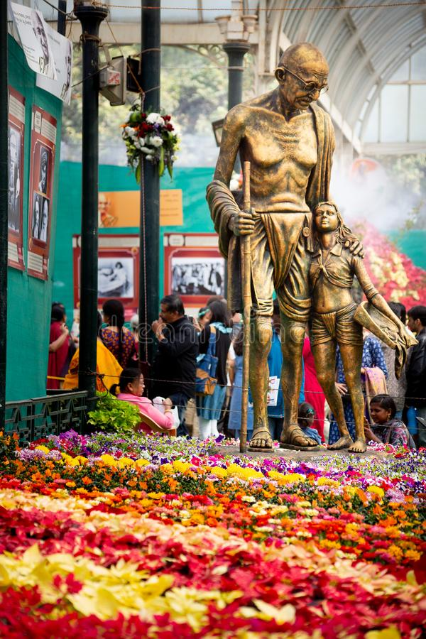 Bangalore, India - January 24, 2019 - Gandi statue at the flower show. Bangalore, India - January 24, 2019 - Gandi statue at Lalbagh flower show stock photos