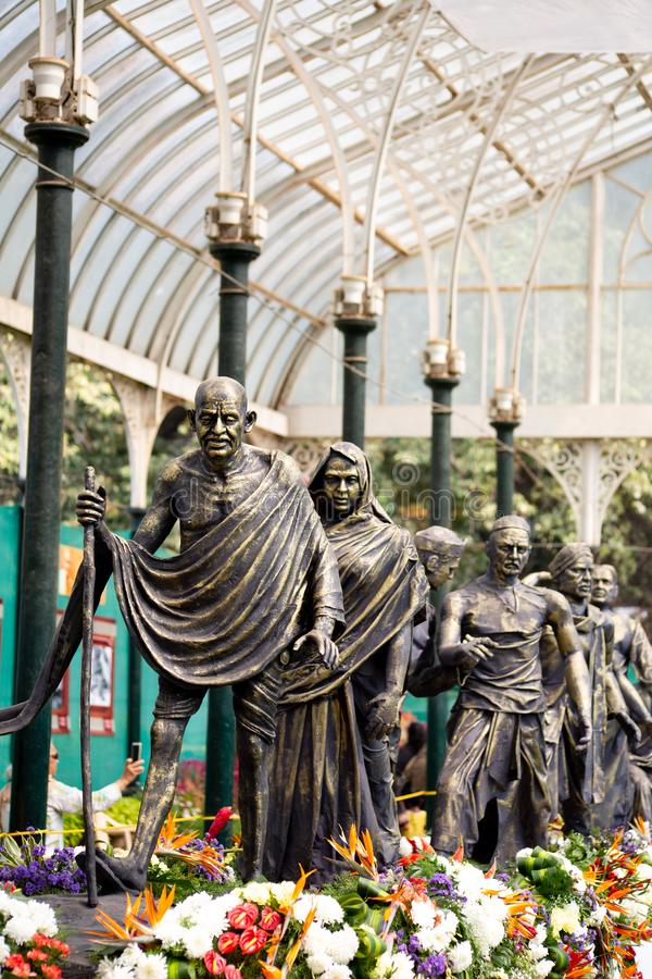 Bangalore, India - January 24, 2019 - Gandi statue at the flower show. Bangalore, India - January 24, 2019 - Gandi statue at Lalbagh flower show royalty free stock image