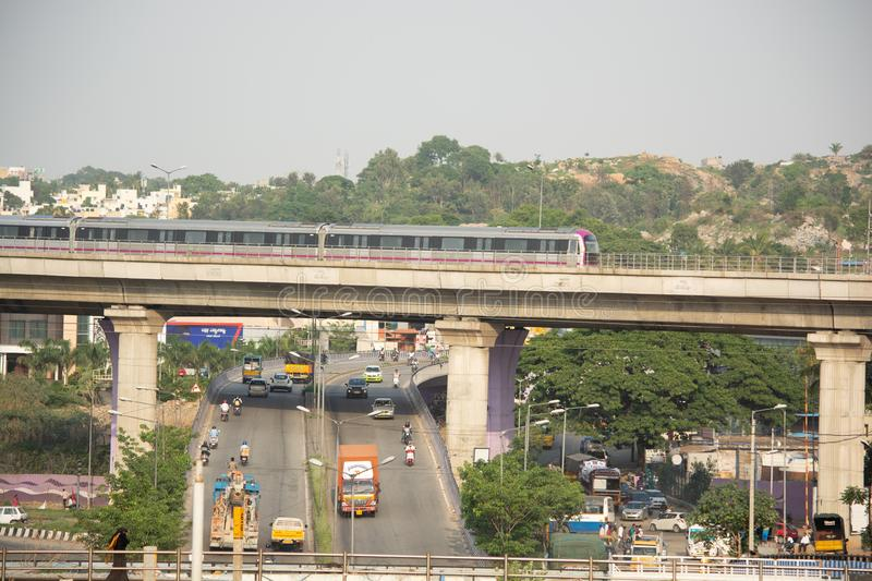 BANGALORE INDIA June 1, 2019 :Bengaluru Metro train moving on the bridge new Mysore road Bengaluru, India.  stock images